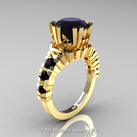 Modern-14K-Yellow-Gold-3-Carat-Black-Diamond-Solitaire-Wedding-Ring-R325-14KYGBD-P