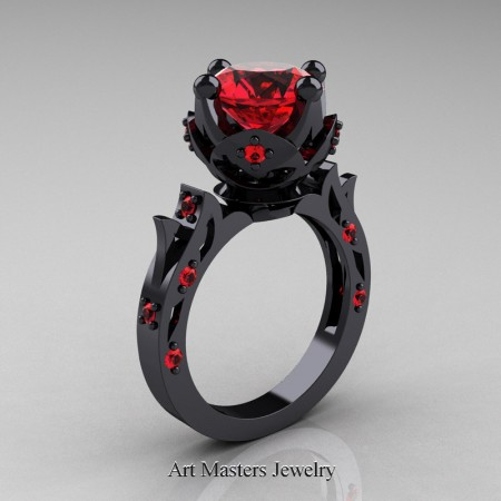 Modern-Antique-Black-Gold-Ruby-Solitaire-Wedding-Ring-R214-BGR-P