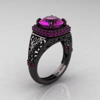High Fashion 14K Black Gold 3.0 Ct Amethyst Designer Wedding Ring R407-14KBGAM