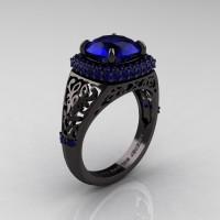 High Fashion 14K Black Gold 3.0 Ct Blue Sapphire Designer Wedding Ring R407-14KBGBS