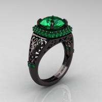 High Fashion 14K Black Gold 3.0 Ct Emerald Designer Wedding Ring R407-14KBGEM