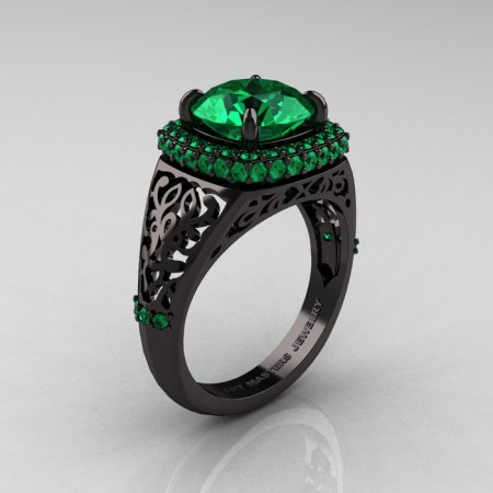 Modern-Baroque-14K-Black-Gold-3-0-Ct-Emerald-Wedding-Ring-R407-14KBGEM-P