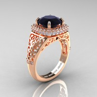 High Fashion 14K Rose Gold 3.0 Ct Back and White Diamond Designer Wedding Ring R407-14KRGDBD
