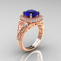 High Fashion 14K Rose Gold 3.0 Ct Blue Sapphire Diamond Designer Wedding Ring R407-14KRGDBS