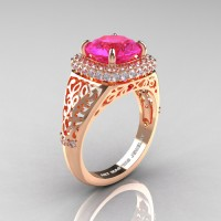 High Fashion 14K Rose Gold 3.0 Ct Pink Sapphire Diamond Designer Wedding Ring R407-14KRGDPS