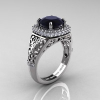 High Fashion 14K White Gold 3.0 Ct Black and White Diamond Designer Wedding Ring R407-14KWGDBD