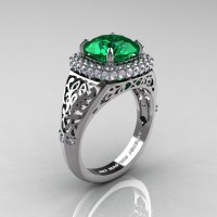 High Fashion 14K White Gold 3.0 Ct Emerald Diamond Designer Wedding Ring R407-14KWGDEM