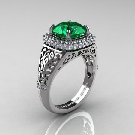 Modern-Baroque-14K-White-Gold-3-0-Ct-Emerald-Diamond-Wedding-Ring-R407-14KWGDEM-P