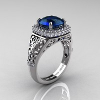 High Fashion 14K White Gold 3.0 Ct London Blue Sapphire Diamond Designer Wedding Ring R407-14KWGLBS