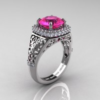 High Fashion 14K White Gold 3.0 Ct Pink Sapphire Diamond Designer Wedding Ring R407-14KWGDPS