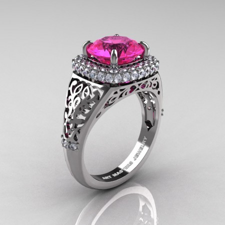 Modern-Baroque-14K-White-Gold-3-0-Ct-Pink-Sapphire-Diamond-Wedding-Ring-R407-14KWGDPS-P