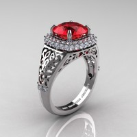 High Fashion 14K White Gold 3.0 Ct Ruby Diamond Designer Wedding Ring R407-14KWGDR