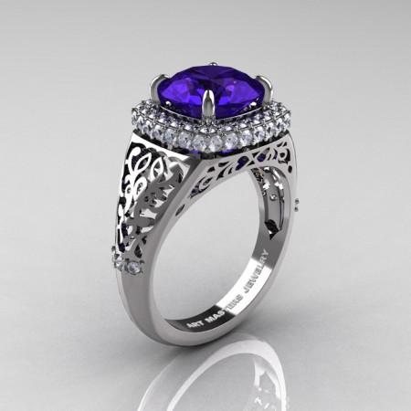 Modern-Baroque-14K-White-Gold-3-0-Ct-Tanzanite-Diamond-Wedding-Ring-R407-14KWGDTA-P