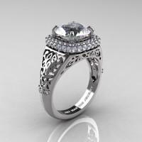 High Fashion 14K White Gold 3.0 Ct White Sapphire Diamond Designer Wedding Ring R407-14KWGDWS