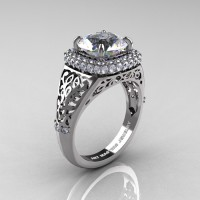 High Fashion 14K White Gold 3.0 Ct Cubic Zirconia Diamond Designer Wedding Ring R407-14KWGDCZ