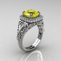 High Fashion 14K White Gold 3.0 Ct Yellow Sapphire Diamond Designer Wedding Ring R407-14KWGDYS