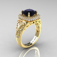 High Fashion 14K Yellow Gold 3.0 Ct Black and White Diamond Designer Wedding Ring R407-14KYGDBD