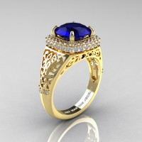 High Fashion 14K Yellow Gold 3.0 Ct Blue Sapphire Diamond Designer Wedding Ring R407-14KYGDBS