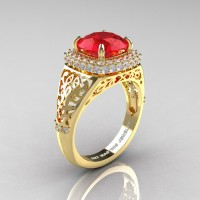 High Fashion 14K Yellow Gold 3.0 Ct Ruby Diamond Designer Wedding Ring R407-14KYGDR