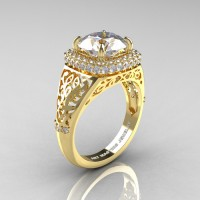 High Fashion 14K Yellow Gold 3.0 Ct White Sapphire Diamond Designer Wedding Ring R407-14KYGDWS
