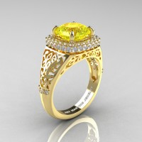 High Fashion 14K Yellow Gold 3.0 Ct Yellow Sapphire Diamond Designer Wedding Ring R407-14KYGDYS