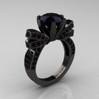 French 14K Black Gold 3.0 CT Black Diamond Engagement Ring Wedding Ring R382-14KBGBD