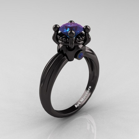 Classic Victorian 14K Black Gold 1.0 Ct Alexandrite Solitaire Engagement Ring R506-14KBGAL