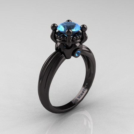 Classic Victorian 14K Black Gold 1.0 Ct Aquamarine  Solitaire Engagement Ring R506-14KBGAQUA
