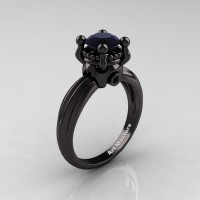 Classic Victorian 14K Black Gold 1.0 Ct Black Diamond Solitaire Engagement Ring R506-14KBGBD