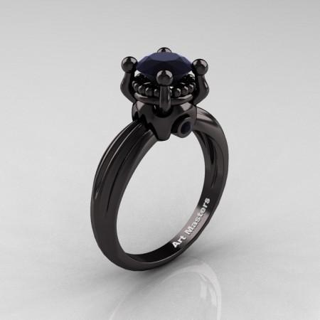 Classic Victorian 14K Black Gold 1.0 Ct Black Diamond  Solitaire Engagement Ring R506-14KBGBD