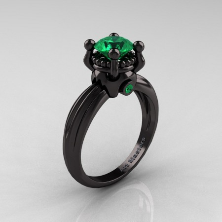 Classic Victorian 14K Black Gold 1.0 Ct Emerald  Solitaire Engagement Ring R506-14KBGEM