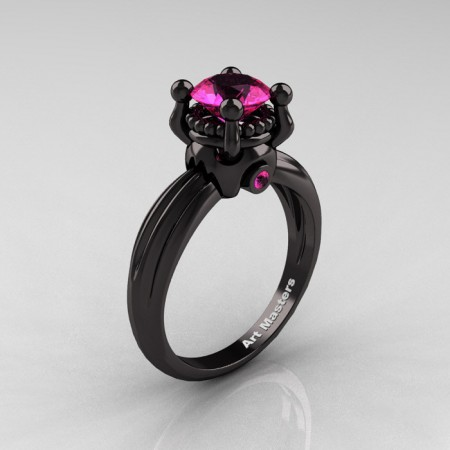 Classic Victorian 14K Black Gold 1.0 Ct Pink Sapphire  Solitaire Engagement Ring R506-14KBGPS