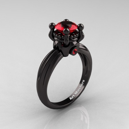 Classic Victorian 14K Black Gold 1.0 Ct Rubies Solitaire Engagement Ring R506-14KBGR