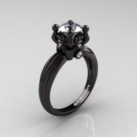 Classic Victorian 14K Black Gold 1.0 Ct White Sapphire Solitaire Engagement Ring R506-14KBGWS