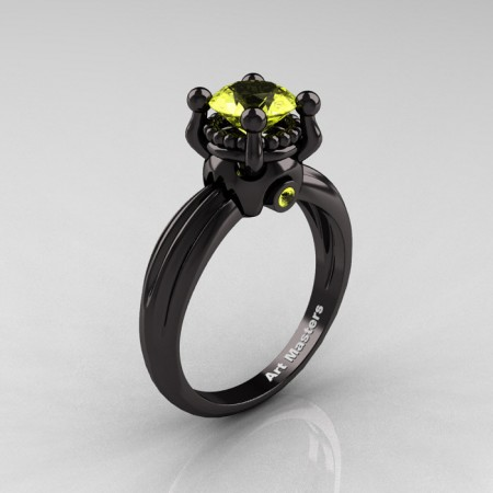 Classic Victorian 14K Black Gold 1.0 Ct Yellow Topaz Solitaire Engagement Ring R506-14KBGYT