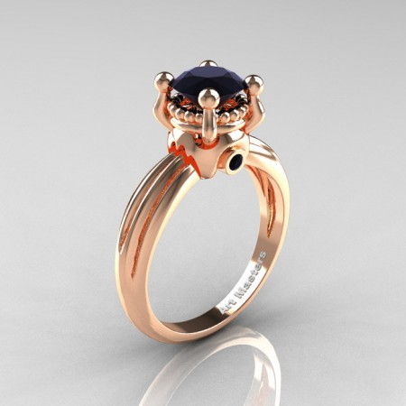Classic Victorian 14K Rose Gold 1.0 Ct Black Diamond Solitaire Engagement Ring R506-14KRGBD