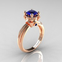 Classic Victorian 18K Rose Gold 1.0 Ct Blue Sapphire Solitaire Engagement Ring R506-18KRGBS
