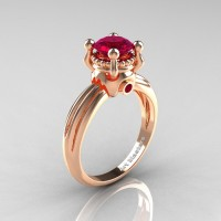 Classic Victorian 14K Rose Gold 1.0 Ct Garnet Solitaire Engagement Ring R506-14KRGG
