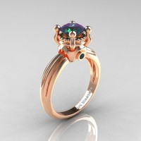 Classic Victorian 14K Rose Gold 1.0 Ct Color Change Alexandrite Solitaire Engagement Ring R506-14KRGAL