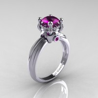 Classic Victorian 14K White Gold 1.0 Ct Amethyst Solitaire Engagement Ring R506-14KWGAM