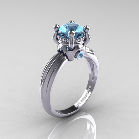 Classic Victorian 14K White Gold 1.0 Ct Blue Topaz Solitaire Engagement Ring R506-14KWGBT