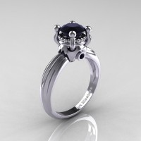 Classic Victorian 14K White Gold 1.0 Ct Black Diamond Solitaire Engagement Ring R506-14KWGBD