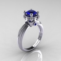 Classic Victorian 14K White Gold 1.0 Ct Blue Sapphire Solitaire Engagement Ring R506-14KWGBS
