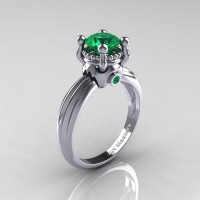 Classic Victorian 14K White Gold 1.0 Ct Emerald Solitaire Engagement Ring R506-14KWGEM