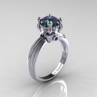 Classic Victorian 14K White Gold 1.0 Ct Color Change Alexandrite Solitaire Engagement Ring R506-14KWGAL