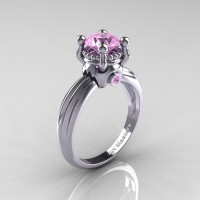 Classic Victorian 14K White Gold 1.0 Ct Light Pink Sapphire Solitaire Engagement Ring R506-14KWGLPS