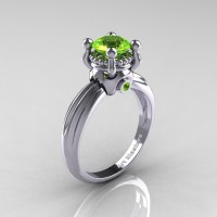 Classic Victorian 14K White Gold 1.0 Ct Peridot Solitaire Engagement Ring R506-14KWGP