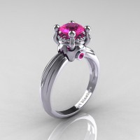 Classic Victorian 14K White Gold 1.0 Ct Pink Sapphire Solitaire Engagement Ring R506-14KWGPS