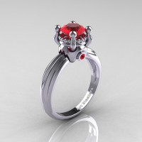 Classic Victorian 14K White Gold 1.0 Ct Rubies Solitaire Engagement Ring R506-14KWGR