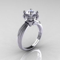 Classic Victorian 14K White Gold 1.0 Ct White Sapphire Solitaire Engagement Ring R506-14KWGWS